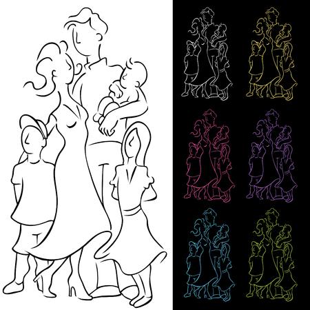 simple girl: Family Illustration