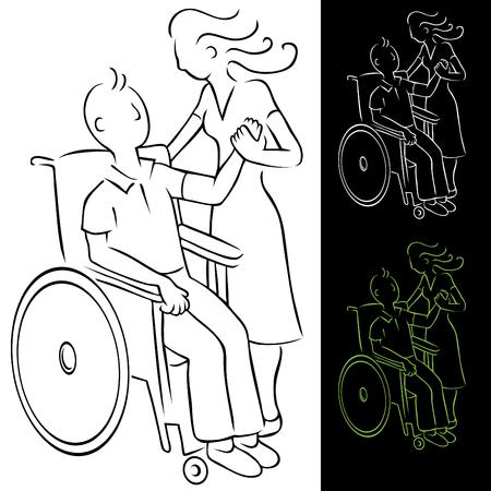車椅子の男を無効に  イラスト・ベクター素材