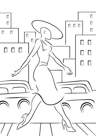 交差道路で女性  イラスト・ベクター素材