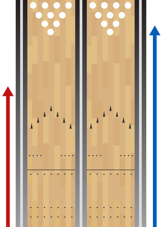ten pin bowling: Bowling Lane Chart Illustration