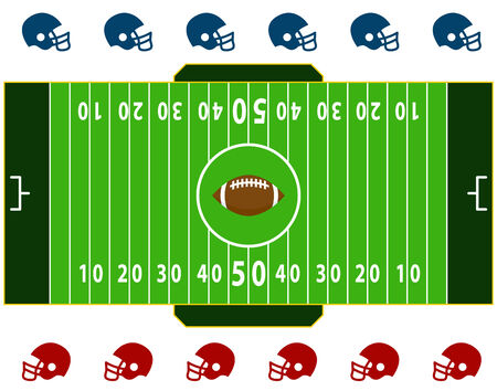 american football helmet set: Football Field Illustration