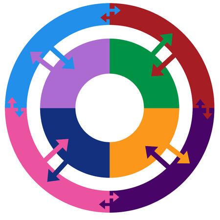 blue circles: Process Chart Flat Illustration