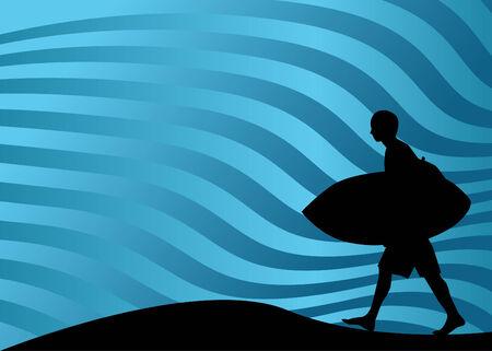 Surfer Walking Vector