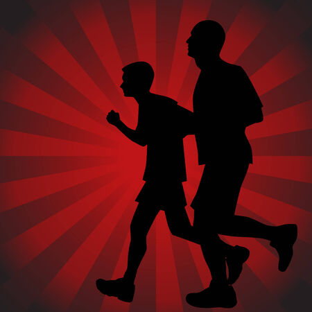 Father Son Runners Stock Vector - 7468948