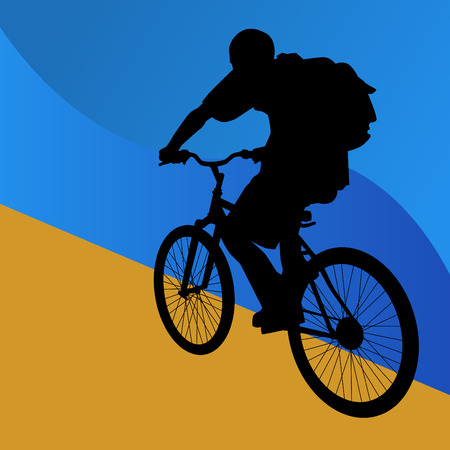 bicycle silhouette: Student Bicycle Rider Illustration