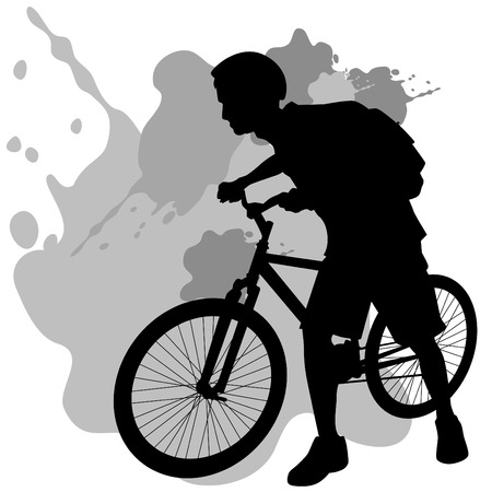 Teenager Walking Bicycle Illustration