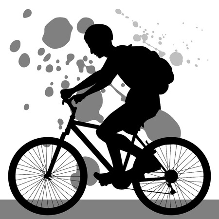 bicycle silhouette: Teenager Riding Bicycle Illustration