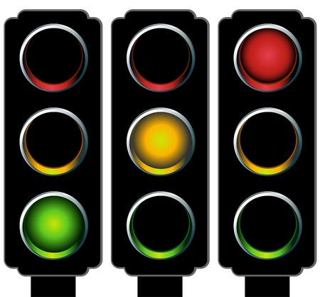 Traffic Light Set Vectores