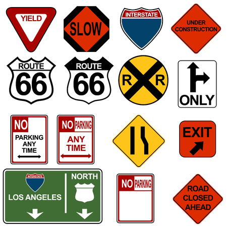 Traffic Signage Set Stock Vector - 7485575