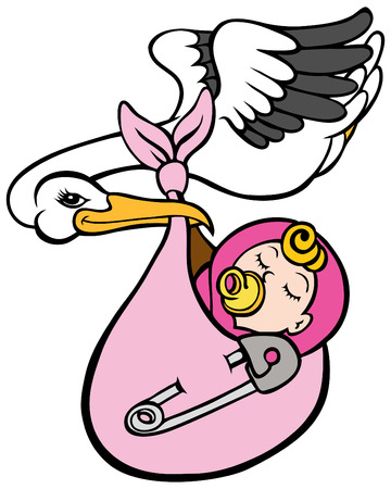 Stork Delivering Baby Girl Stock Vector - 7485572