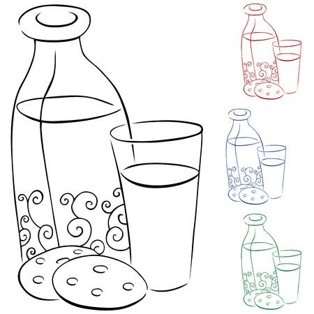 Leche y galletas  Ilustración de vector