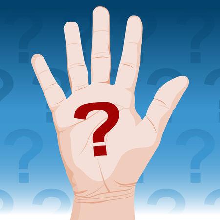 questioning: Ein Bild einer Hand mit Fragezeichen.  Illustration