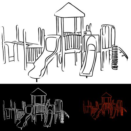 Een beeld van de speelplaatsapparatuur van kinderen.