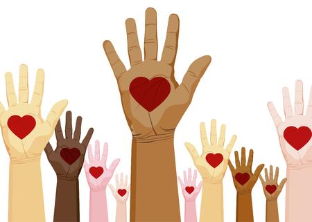 심장 손으로의 다양 한 집합의 이미지.