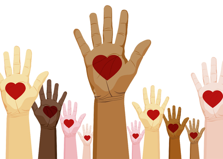An image of a diverse set of hands with heart. Vector