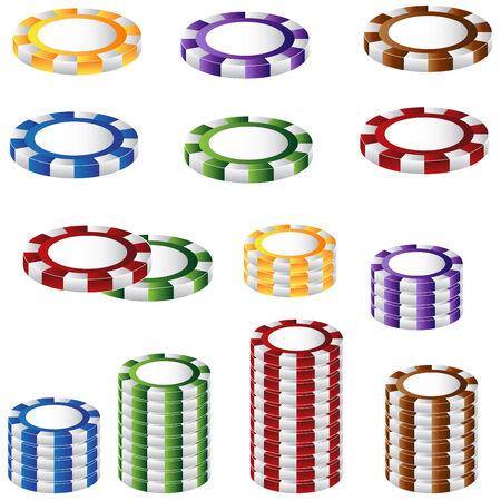 casino chips: A 3D image of a poker chip set.