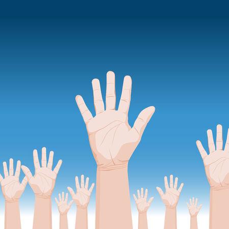 emelt: An image of a crowd of raised hands. Illusztráció