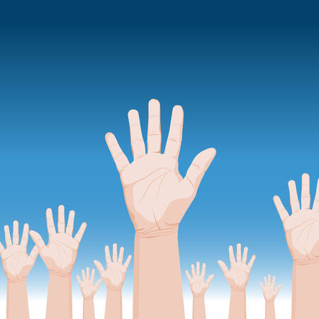 An image of a crowd of raised hands. Vector