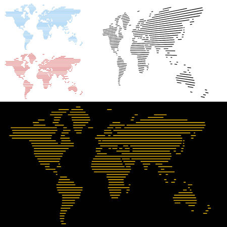 World Map Line Screen Vector