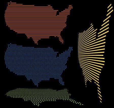United States Map Set 向量圖像