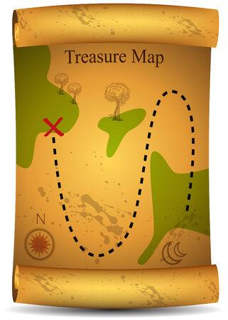 Gold Treasure-Karte  Standard-Bild - 7532799