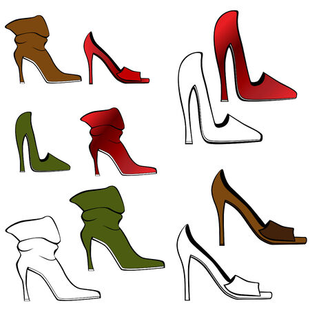 high: High Heel Shoe Set Illustration