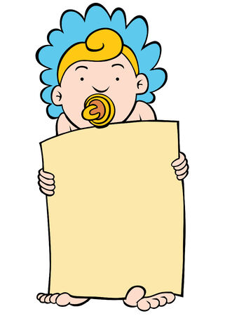 bonnet illustration: An image of a baby holding a blank sign.