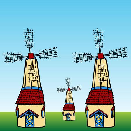 An image of cartoon windmills. Stock Vector - 7559591