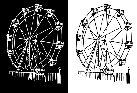 amusement park black and white: An image of a ferris wheel.
