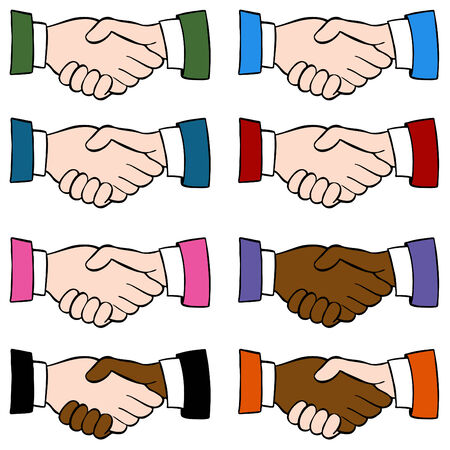 An image of a handshake set. Vector