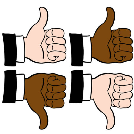 confirm: An image of thumbs up and down. Illustration