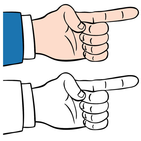white pointer: An image of a finger pointing.