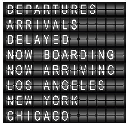 new arrivals: An image of a travel station schedule board.
