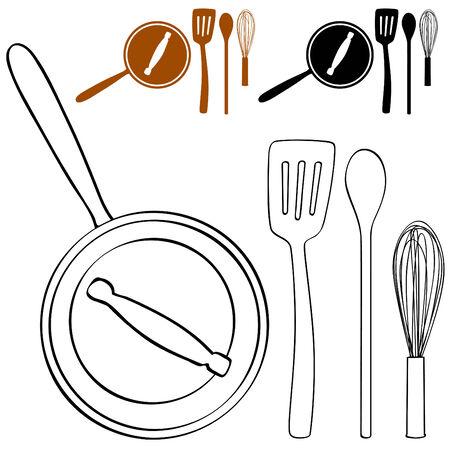 요리 냄비와기구 세트의 이미지.
