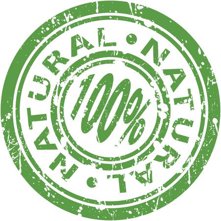 녹색 100 % 천연 스탬프의 이미지. 일러스트