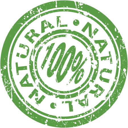 An image of a green 100% natural stamp.
