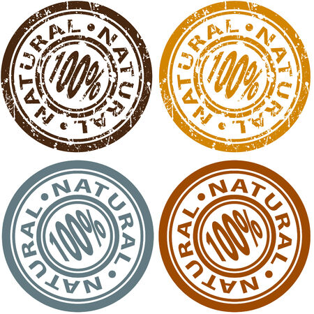 An image of a 100% natural stamp set. Stock Vector - 7579650