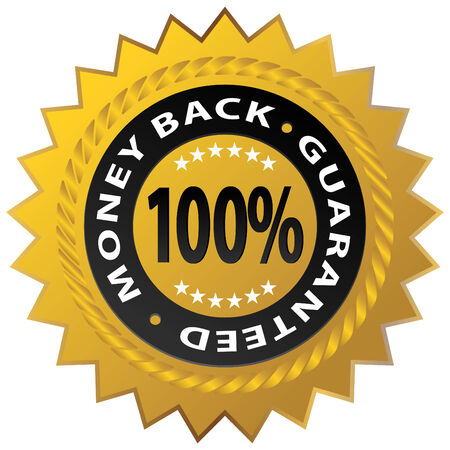An image of a 100% money back guaranteed stamp. Vector