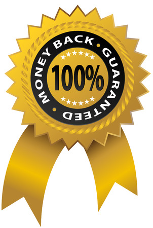 An image of a 100% money back guaranteed ribbon.