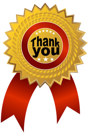 An image of a thank you ribbon. Vector