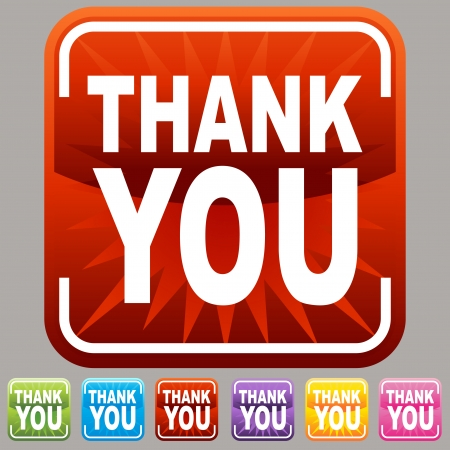An image of a thank you buttons. Vector