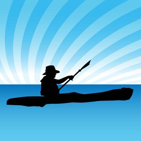 kayak: Een afbeelding van een persoon in een kajak.