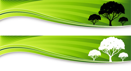 An image of two tree banners. Vector