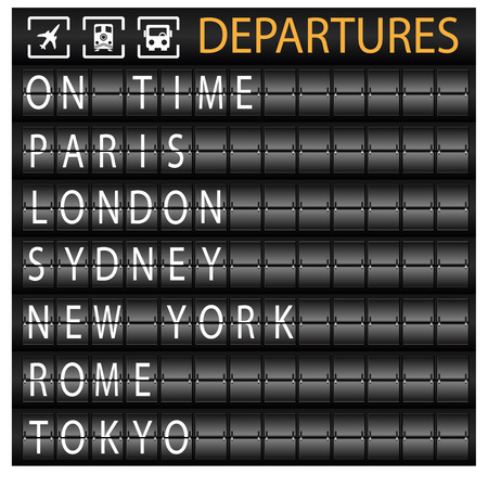 An image of a departure board. Vector