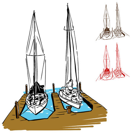 An image of a dock with two boats. Vector