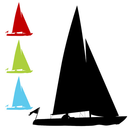 sailing yacht: An image of a sailboat set. Illustration