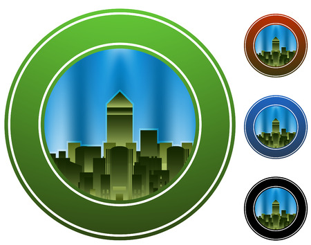 office building: An image of a city circle.