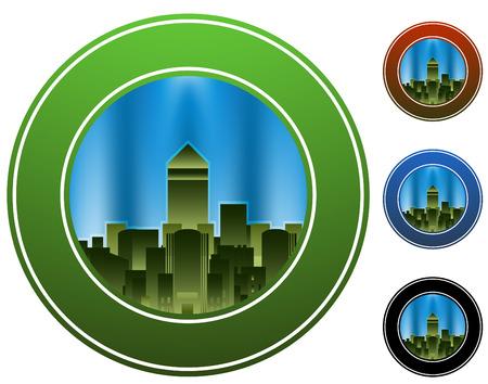 Een afbeelding van een cirkel van de stad.  Stock Illustratie