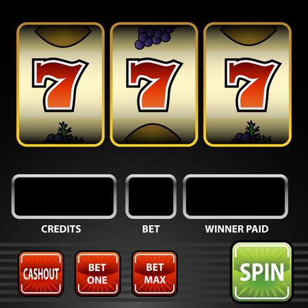 An image of a lucky seven slot machine. Vector