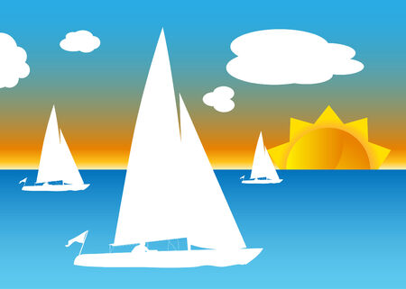 An image of multiple sailboats. Vector